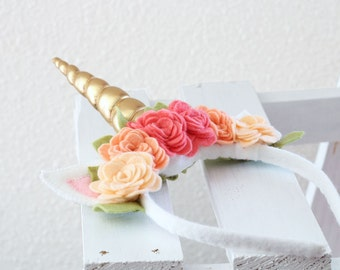 Unicorn Horn Headband in Coral, Flowers, Golden Spiral Horn, Felt, Roses, Cosplay, Pony, Imaginative Play,Black Friday, Cyber Monday