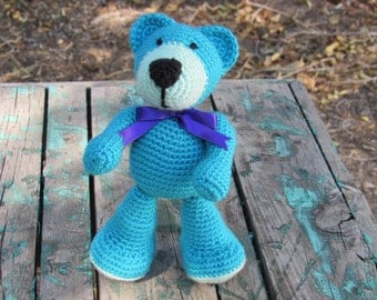 Amigurumi Crocheted Stuffed Teddy Bear (Turquoise - purple ribbon)
