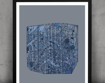 Abstract Geometric Urban Gemstone Print-Cobalt