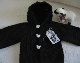 Hand Crocheted Boys Infant Hooded Sweater, Boys 9 to 12 Month Black Sweater, Handmade Infant Boys Sweater From Made Of Flaws