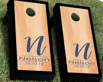 Calligraphy Monogram Cornhole Decal | Set of 2 | Personalized CornHole Sticker | Wedding Cornhole Decal | Wedding Decal | Corn Hole Decal