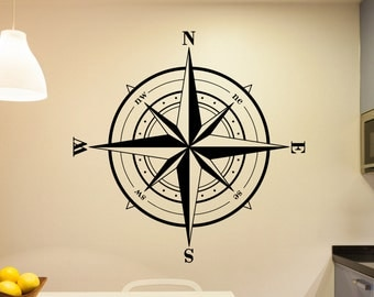 Compass Wall Decal | Compass Decal | Compass Rose Wall Decal | Vinyl Decal | Vinyl Decor | Home Decor Wall Decal Wall Decor