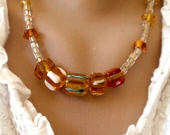 Statement Lampwork Necklace, Amber Glass beads Necklace, amber Necklace, Glass Bead Jewelry, Ready To Ship!