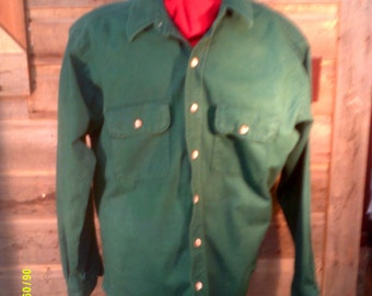 Vintage Men's Cotton Flannel Shirt, size Lg., Made in USA by Redhead, Green Flannel Shirts, Mens Flannels Lg., Grunge Flannel Lg