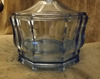 Blue Octagon Depression Glass Candy Dish with Lid