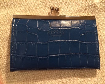 Osprey Blue Leather Purse with Silver Snap. Unused.