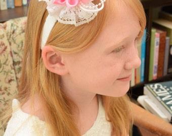 Flowergirl Headband, Pink Flowergirl Headband, Wedding Headband, Pink Headband, Christening Headband