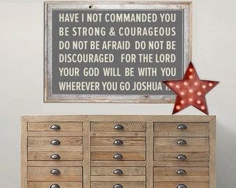 Be Strong and Courageous / Boys Bedroom / Large Format / WallArt / Word Art / Poster / No Frame / 4 Sizes, 8x10, 11x14, 18x24, 24x36