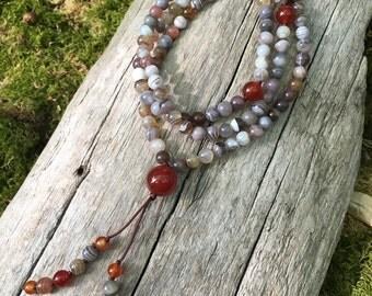 Crazy Lace Agate and Carnelian Buddhist Mala Prayer Bead B123
