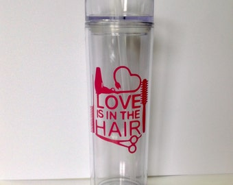 DIY Hairdresser Love is in the Hair Vinyl Decals Make Your Own Coffee Mug Wedding Tumblers or Glasses