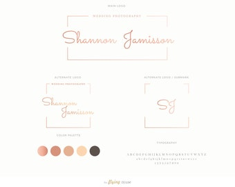 Rose Gold Foil Frame Mini Branding Kit - Logo Design Package, Rose Gold Frame Logo for Photographers, Modern Photography Logo, Blog Branding