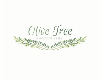 Watercolor Logo Design - Olive Branch Laurel Logo for Photographers, Photography Logo, Fashion Blog Logo Design, Modern Shop Handrawn Logo