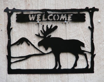 Bull Moose welcome sign.