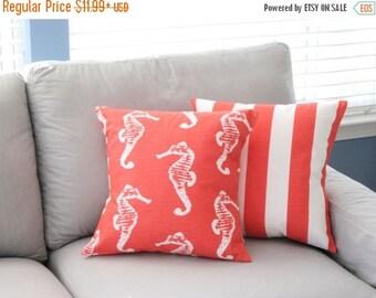 SALE Pillow Cover, Pillow, Beach Decor, Decorative Throw Pillows, Decorative Pillows, Salmon Color, Beach Cottage, Various Sizes