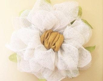 Magnolia Flower Burlap Wreath