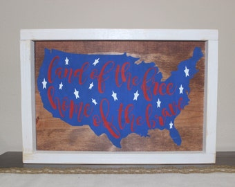Land of the Free, Home of the Brave Sign - White Frame