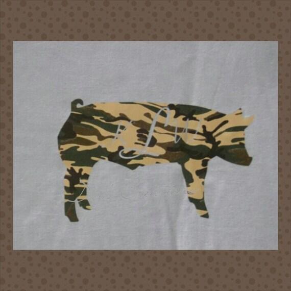 Custom monogrammed hog t-shirt - Personalized pig t-shirt - hog shower personalized t-shirt