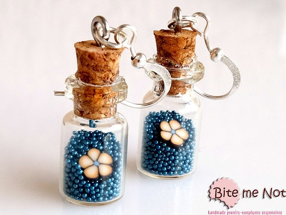 Glass Bottles with Sprinkles and Flowers Earrings, Candy Earrings, Mini Bottles Jewelry, Mini Glass Bottles, Bottle Earrings