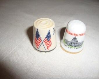 2 Porcelain Thimbles, one Bicentennial