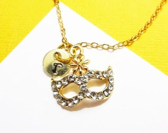 RHINESTONE MASK NECKLACE in gold tone - personalized with initial charm