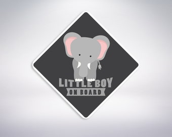 Little Boy on board - Elephant Car Sticker. Baby on board, car sticker.
