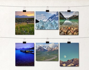 Set of 6 Blank Note Cards, Mountain Landscape, Greeting Card, Notecard