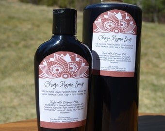 Peppermint Chaga Soap Real Castile Soap Organic Oils & Wild Chaga Mushrooms Pure Essential Oils - free shipping in usa - Made fresh to Order