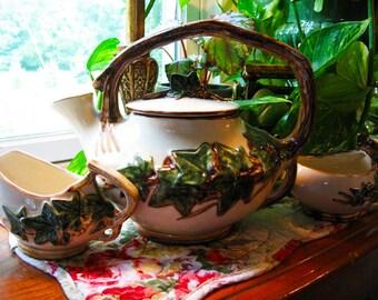 Vintage McCoy Ivy Teapot, Sugar and Creamer, McCoy tea set