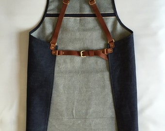 Selvedge denim and leather apron, cross back, silversmith crafter barber barista chef tattooist