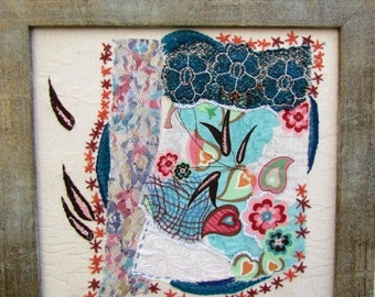 VALENTINE SALE TURQUOISE Leaves hand embroidery, fiber art. mixed media, wall hanging, wall decor, Ooak