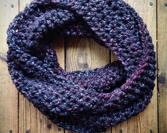 Infinity Scarf - black with grey and red flecks