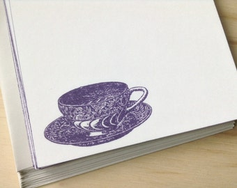 vintage inspired flat note card set, tea cup, a6, stationery set, set of 10