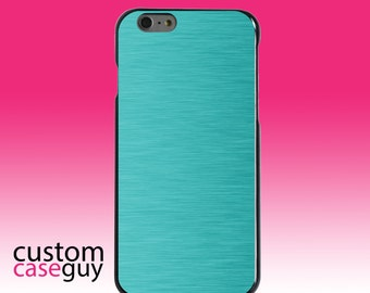 Hard Snap-On Case for Apple 5 5S SE 6 6S 7 Plus - CUSTOM Monogram - Any Colors - Teal Stainless Steel Print