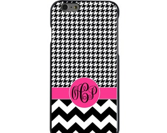 Hard Snap-On Case for Apple 5 5S SE 6 6S 7 Plus - CUSTOM Monogram - Any Colors - Black White Pink Chevron Houndstooth