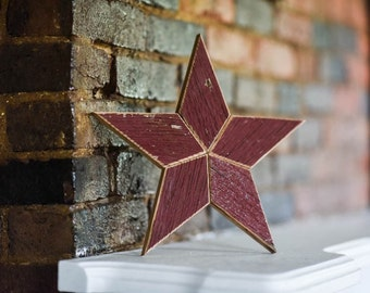 Christmas Tree Star Topper Decoration (Red)- 12 inch star tree topper made from red barn wood