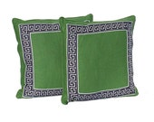 """Pair of Decorative Pillows – Kelly Green with Navy and White Geometric Border - Designer Fabric- 20"""" Pillows - Hidden Zipper Closure"""