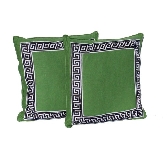 Decorative Pillow Covers Kelly Green with Navy and White