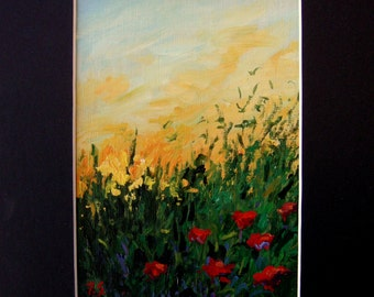 poppies original painting, sunset small landscape, Sessa