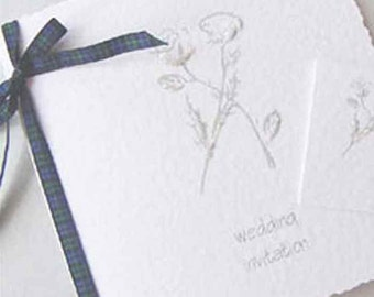 Thistle & Rose Wedding Invitation   Tartan Ribbon   Folded Card Wedding Invite   Scottish Wedding   Black Watch Tartan   Thistle   Rose