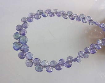 8-inch Natural Tanzanite smooth plain heart shape size 4.5-8mm GW1134