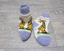 Children's Knitted Soft Warm Socks Merino Wool With Ornament Giraffe - Size 6.5-7.5 inch - Handmade Accessories for Children