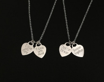 Personalized Sterling Silver Heart Necklaces. Engraved Name Necklace. Monogram Heart Necklace.Family Necklace. Mom Necklace. Sister Necklace