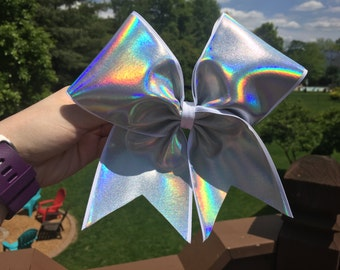 Silver Iridescent Hologram Cheer Bow