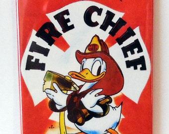 """Donald Duck Fire Chief 2"""" x 3"""" Fridge MAGNET art Vintage"""