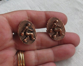Vintage Bowler Oval Shaped Copper Colored Cuff Links