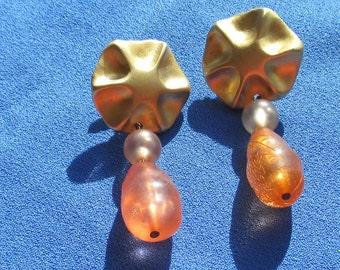 Retro Peach Colored Dangling Beaded Pierced Earrings TLC