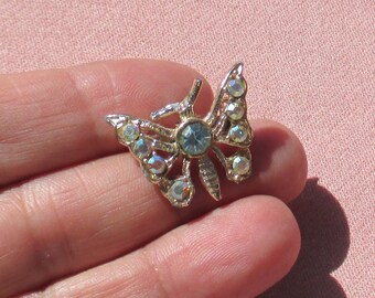 Vintage Butterfly Blue AB Rhinestone Brooch