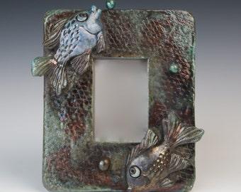 Raku-fired Fish Mirror