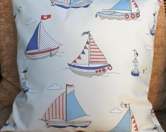 Sailing pillow cover, nautical cushion cover, yacht pillow cover,  boys pillow, blue, white and red nautical pillow 16""