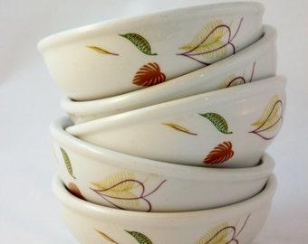 Vintage Sterling China Restaurant Ware Bowls/Mid-Century/Leaf Pattern